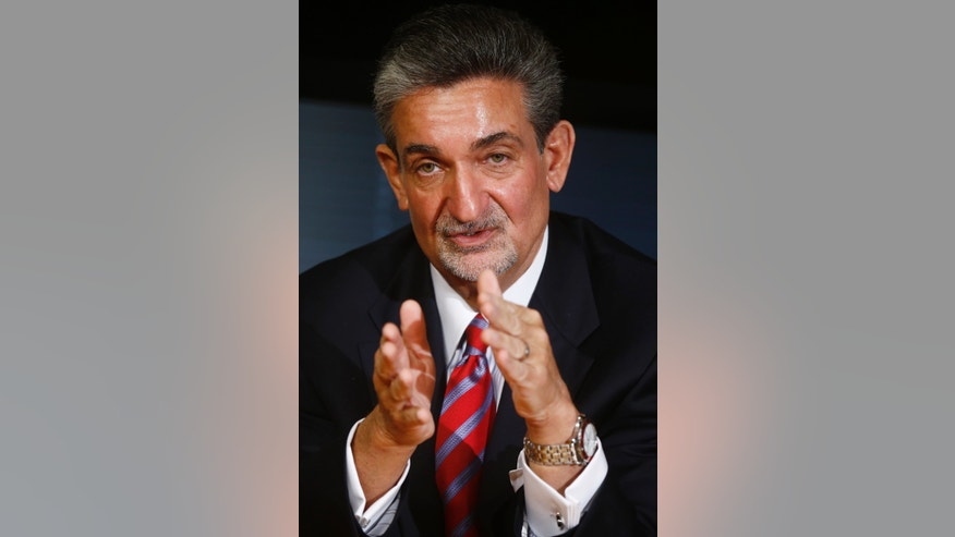 CORRECTS SPELLING OF CAPITALS - Washington Wizards basketball and Washington Capitals hockey teams owner Ted Leonsis gestures during an interview with The Associated Press in Washington, Tuesday, Nov. 12, 2013.  Leonsis said he doesn't ask for much from the District of Columbia government _ but he says better traffic control and increased security around Verizon Center would be nice. Leonsis spoke to Associated Press reporters and editors on Tuesday. He praised the city government and the administration of Mayor Vincent Gray, saying the city has never been friendlier to business.  (AP Photo/Charles Dharapak)