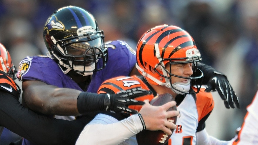Baltimore Ravens outside linebacker Elvis Dumervil sacks Cincinnati Bengals quarterback Andy Dalton during the second half of a NFL football game in Baltimore, Sunday, Nov. 10, 2013. (AP Photo/Gail Burton)