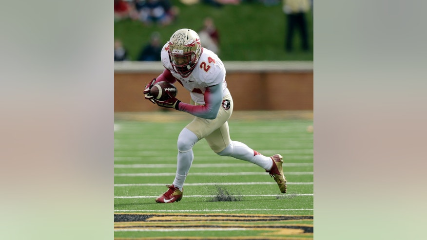 Florida State linebacker Terrence Smith intercepts a Wake Forest pass in the first half of an NCAA college football game in Winston-Salem, N.C., Saturday, Nov. 9, 2013. (AP Photo/Nell Redmond)