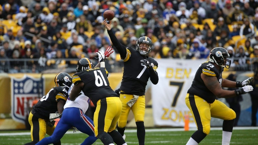 Pittsburgh Steelers' Ben Roethlisberger passes during the first half of an NFL football game against the Buffalo Bills, Sunday, Nov. 10, 2013, in Pittsburgh. (AP Photo/Gene J. Puskar)