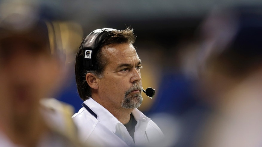St. Louis Rams head coach Jeff Fisher watches from the sideline during the second half of an NFL football game against the Indianapolis Colts in Indianapolis, Sunday, Nov. 10, 2013. (AP Photo/AJ Mast)