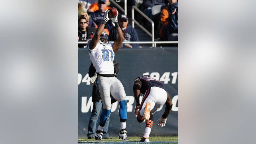 Detroit Lions wide receiver Calvin Johnson (81) makes a touchdown reception in the end zone during the second half of an NFL football game against the Chicago Bears, Sunday, Nov. 10, 2013, in Chicago. (AP Photo/Nam Y. Huh)