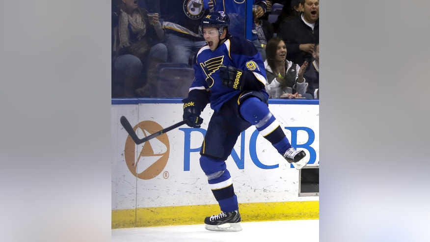St. Louis Blues' Vladimir Tarasenko, of Russia, celebrates after scoring during the second period of an NHL hockey game against the Colorado Avalanche Thursday, Nov. 14, 2013, in St. Louis. (AP Photo/Jeff Roberson)