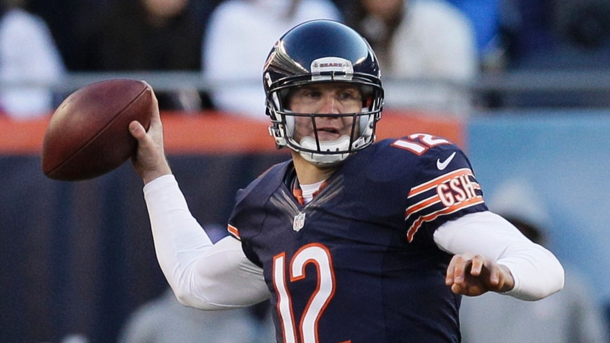 Chicago Bears quarterback Josh McCown (12) throws a pass during the second half of an NFL football game against the Detroit Lions, Sunday, Nov. 10, 2013, in Chicago. The Lions won 21-19. (AP Photo/Nam Y. Huh)