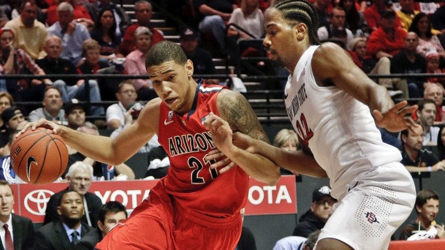 Arizona forward Brandon Ashley, left, drives the baseline against San Diego State forward Josh Davis during the first half of an NCAA college basketball game Thursday, Nov. 14, 2013, in San Diego. (AP Photo/Lenny Ignelzi)