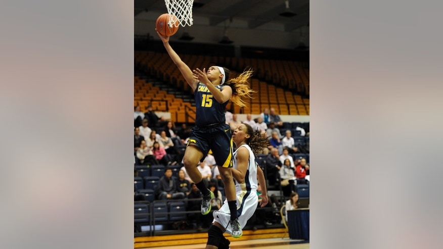 California guard Brittany Boyd (15) goes to the basket against George Washington forward Brooke Wilson, right, during the first half of an NCAA college basketball game, Friday, Nov. 15, 2013, in Washington. (AP Photo/Nick Wass)
