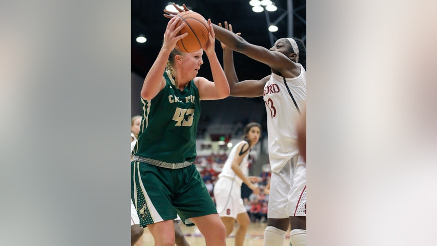 Cal Poly's Molly Schlemer (43) battles for a rebound against Stanford's Chiney Ogwumike (13) during the second half of an NCAA college basketball game in Stanford, Calif., Friday, Nov. 15, 2013. Stanford won 86-51. (AP Photo/Tony Avelar)