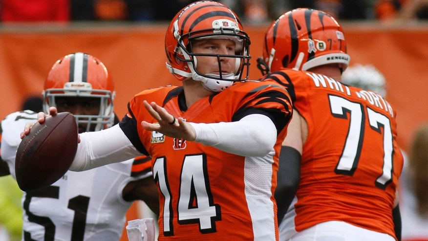 Cincinnati Bengals quarterback Andy Dalton (14) passes against the Cleveland Browns in the first half of an NFL football game on Sunday, Nov. 17, 2013, in Cincinnati. (AP Photo/David Kohl)
