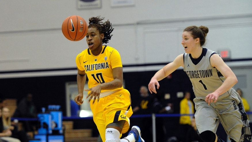 California guard Mercedes Jefflo (10) and Georgetown guard Katie McCormick (1) chase the ball during the first half of an NCAA women's college basketball game, Sunday, Nov. 17, 2013, in Washington. (AP Photo/Nick Wass)