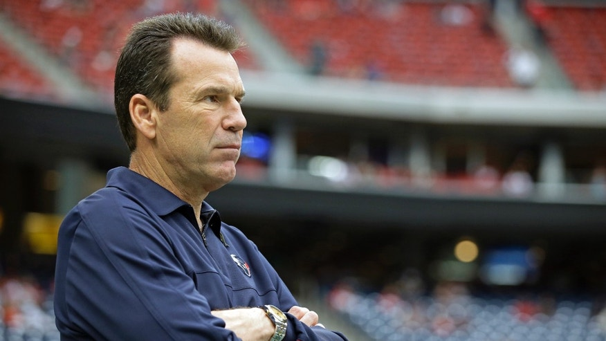 Houston Texans head coach Gary Kubiak watches warm-ups before an NFL football game against the Oakland Raiders Sunday, Nov. 17, 2013, in Houston. Kubiak is returning after collapsing on the field Nov. 3 at halftime of a game against the Indianapolis Colts.(AP Photo/Tony Gutierrez)