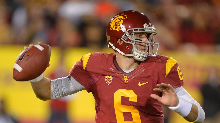 Southern California quarterback Cody Kessler passes during the first half of an NCAA college football game against Stanford, Saturday, Nov. 16, 2013, in Los Angeles. (AP Photo/Mark J. Terrill)