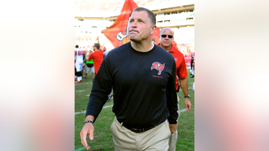 Tampa Bay Buccaneers head coach Greg Schiano walks off the field after his team defeated the Atlanta Falcons 41-28 in an NFL football game on Sunday, Nov. 17, 2013, in Tampa, Fla. (AP Photo/Brian Blanco)