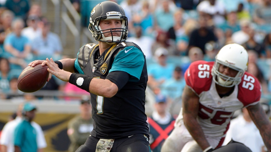 Jacksonville Jaguars quarterback Chad Henne (7) looks for a receiver as he is pressured by Arizona Cardinals outside linebacker John Abraham (55) during the second half of an NFL football game in Jacksonville, Fla., Sunday, Nov. 17, 2013. Arizona defeated Jacksonville 27-14. (AP Photo/Phelan M. Ebenhack)