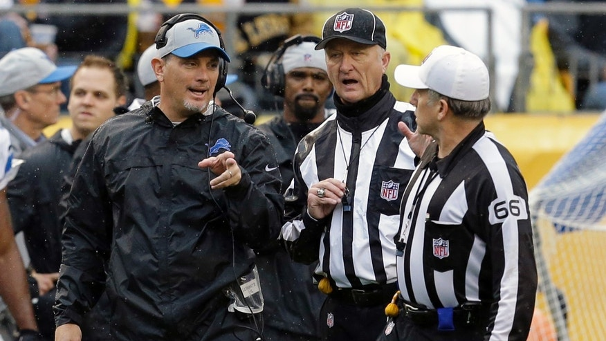 Detroit Lions head coach Jim Schwartz, left, talks with referee Walt Anderson (66) during the second quarter of an NFL football game against the Pittsburgh Steelers in Pittsburgh, Sunday, Nov. 17, 2013. (AP Photo/Gene J. Puskar)