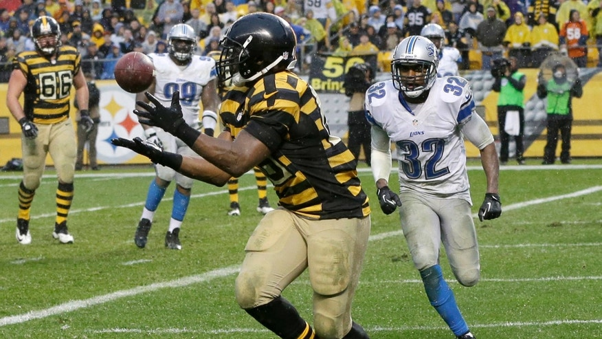 Pittsburgh Steelers fullback Will Johnson (46) center, makes a catch for a touchdown after getting past Detroit Lions strong safety Don Carey (32) in the fourth quarter of an NFL football game in Pittsburgh, Sunday, Nov. 17, 2013. (AP Photo/Gene J. Puskar)