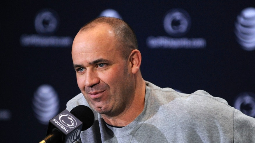 Penn State NCAA college head football coach Bill O'Brien addresses the media during his weekly press conference, Tuesday, Nov. 19, 2013, in State College, Pa.  Penn State plays Nebraska on Saturday. (AP Photo/Centre Daily Times, Nabil K. Mark) MANDATORY CREDIT; MAGS OUT