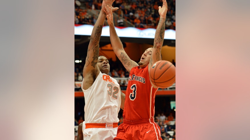 Syracuse's DaJuan Coleman, left,  knocks the ball from St. Francis' Ben Mockford during the first half of an NCAA college basketball game in Syracuse, N.Y., Monday, Nov. 18, 2013. (AP Photo/Kevin Rivoli)