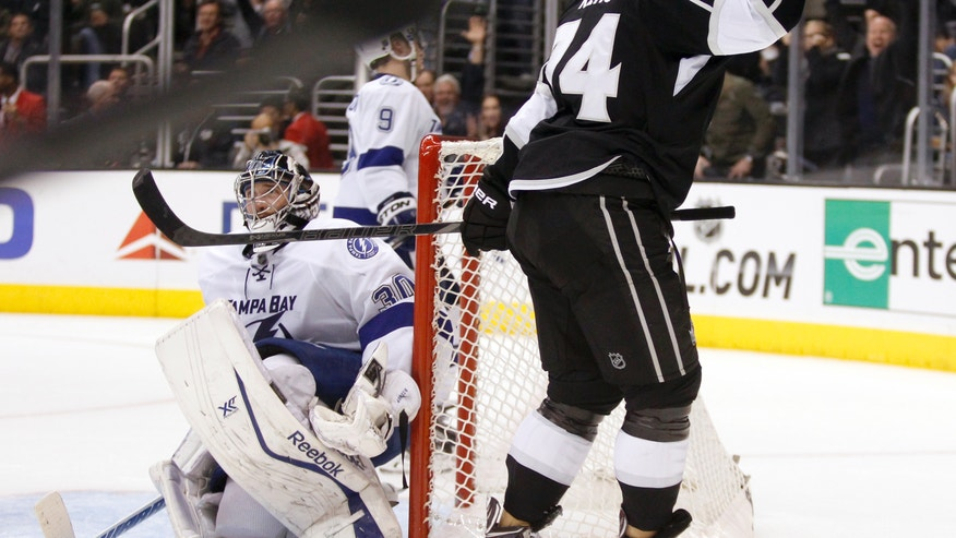 Los Angeles Kings left wing Dwight King, right, celebrates scoring on Tampa Bay Lightning goalie Ben Bishop, left, in the second period of an NHL hockey game Tuesday, Nov. 19, 2013, in Los Angeles.  (AP Photo/Alex Gallardo)