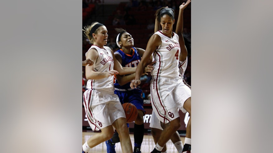 UT Arlington guard Tahila Pope, center, gets tangled up between Oklahoma's Nicole Kornet, left, and Nicole Griffin, right, on the way to the basket during the first half of a NCAA college basketball game in Norman, Okla., Wednesday, Nov. 20, 2013. (AP Photo/Alonzo Adams)