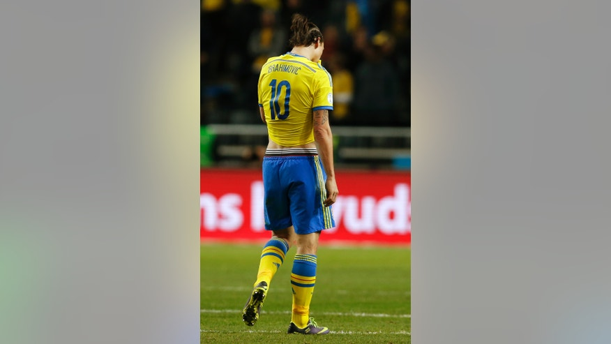 Sweden's Zlatan Ibrahimovic reacts during the World Cup qualifying playoff second leg soccer match between Sweden and Portugal in Stockholm, Sweden, Tuesday, Nov.19, 2013. (AP Photo/Frank Augstein)