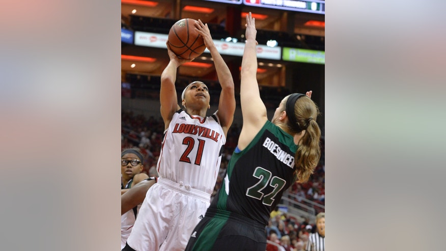 Louisville's Bria Smith (21) shoots over the defense of Ohio's Hannah Boesinger during the first half of their NCAA college basketball game on Thursday Nov. 21, 2013, in Louisville, Ky. (AP Photo/Timothy D. Easley)
