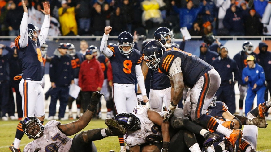 Chicago Bears kicker Robbie Gould (9) celebrates after booting the game-winning field goal in overtime to beat the Baltimore Ravens 23-20 in an NFL football game Sunday, Nov. 17, 2013, in Chicago.  (AP Photo/Charles Rex Arbogast)