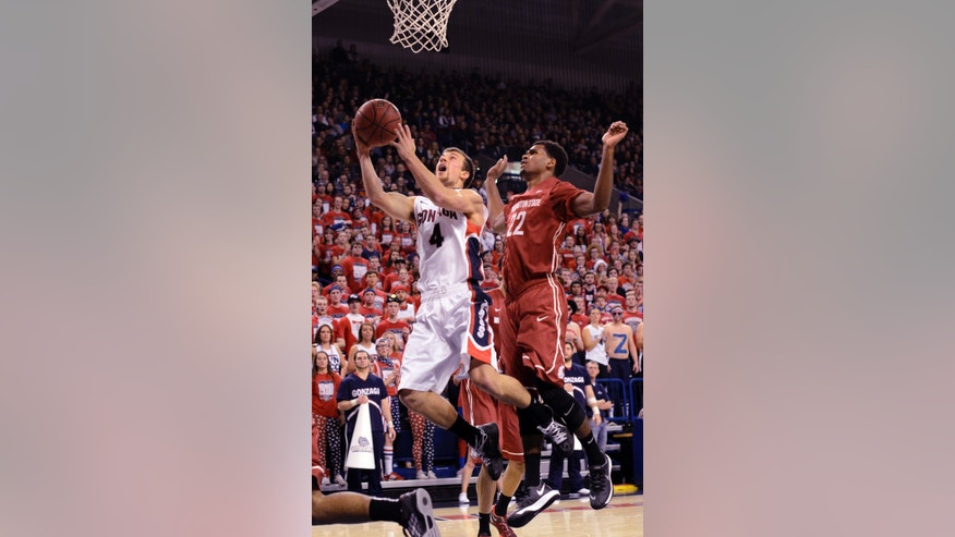 Gonzaga's Kevin Pangos (4) shoots as Washington State's Royce Woolridge (22) defends in the first half of an NCAA college basketball game, Thursday, Nov. 21, 2013, in Spokane, Wash. (AP Photo/Jed Conklin)