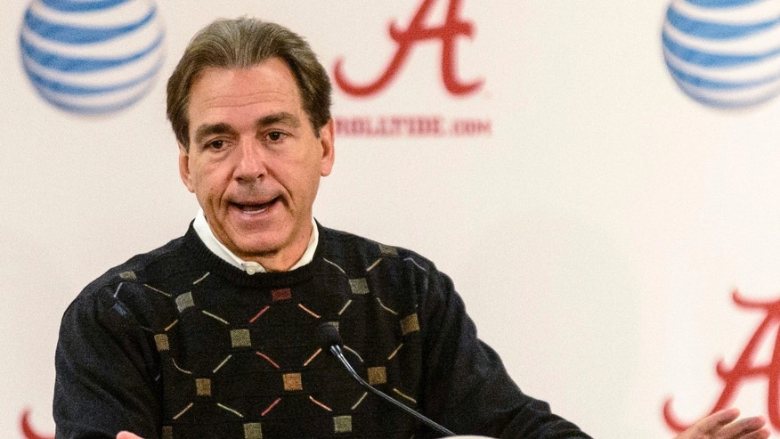 Alabama Coach Nick Saban speaks during his Monday Game-Week press conference, rehashing the Mississippi State game and looking forward to Chattanooga, Monday, Nov. 18, 2013, at the Mal Moore Athletic Facility in Tuscaloosa, Ala. (AP Photo/AL.com, Vasha Hunt)