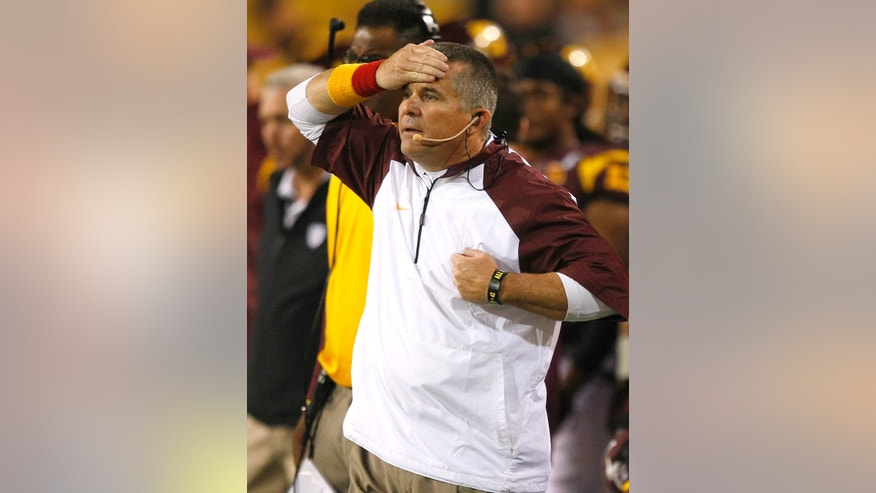 Arizona State head coach Todd Graham reacts during the second half of an NCAA college football game against Oregon State on Saturday, Nov. 16, 2013, in Tempe, Ariz. The Sun Devils defeated the Beavers 30-17. (AP Photo/Rick Scuteri)