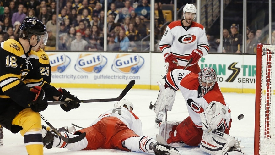 Boston Bruins' Reilly Smith (18) scores on a backhand past Carolina Hurricanes goalie Cam Ward during the second period of an NHL hockey game in Boston Saturday, Nov. 23, 2013. (AP Photo/Winslow Townson)