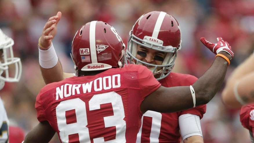 Alabama quarterback AJ McCarron, rear, celebrates with Kevin Norwood (83) after throwing Norwood a 28-yard touchdown pass during the first half of an NCAA college football game against Chattanooga in Tuscaloosa, Ala., Saturday, Nov. 23, 2013. (AP Photo/Dave Martin)