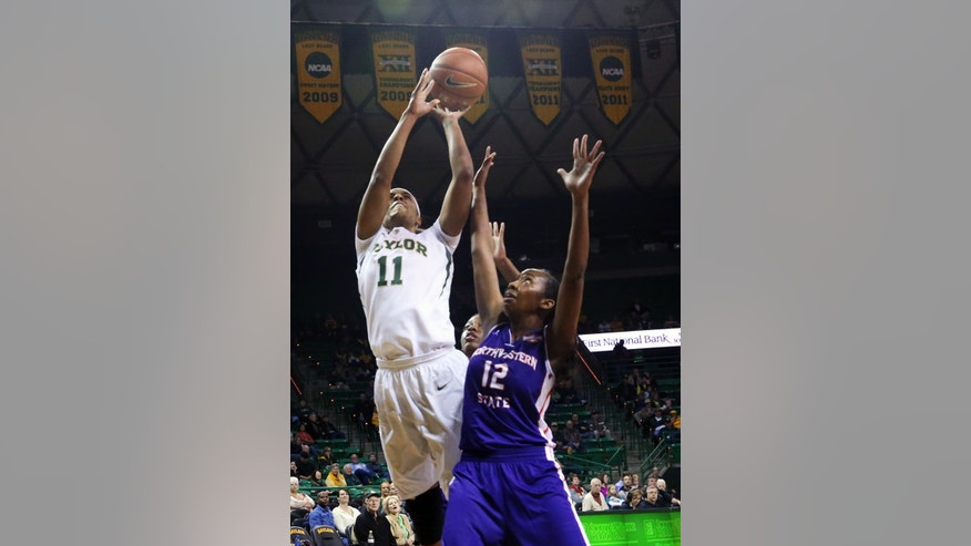 Baylor forward Mariah Chandler (11), left, shoots over Northwestern State guard Chelsea Rogers (12), right, in the first half of an NCAA college basketball game, Friday, Nov. 22, 2013, in Waco, Texas. (AP Photo/Waco Tribune Herald, Michael Bancale)