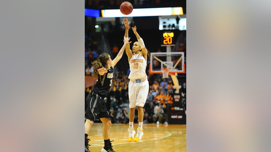 Tennessee's Meighan Simmons (10) shoots over Oakland's Victoria Lipscomb (30) in the first half of an NCAA college basketball game on Sunday, Nov. 24, 2013, in Knoxville, Tenn. (AP Photo/Patrick Murphy-Racey)