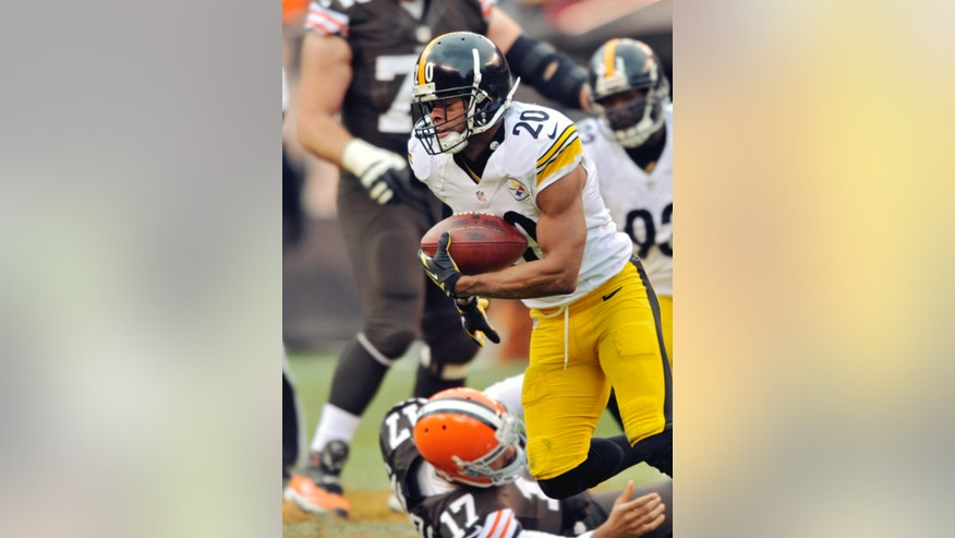 Pittsburgh Steelers safety Will Allen (20) returns a fumble by Cleveland Browns quarterback Jason Campbell (17) in the third quarter of an NFL football game on Sunday, Nov. 24, 2013. (AP Photo/David Richard)