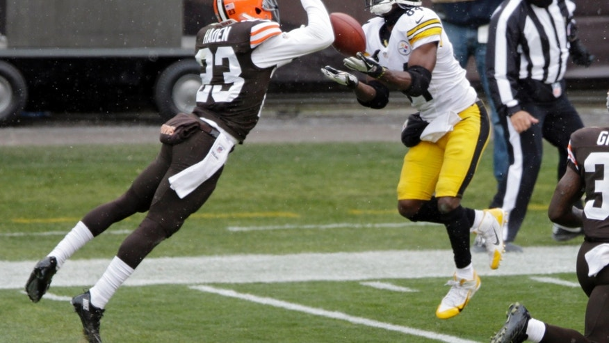 Pittsburgh Steelers wide receiver Antonio Brown (84) catches a 41-yard touchdown against Cleveland Browns cornerback Joe Haden (23) in the second quarter of an NFL football game on Sunday, Nov. 24, 2013, in Cleveland. (AP Photo/Tony Dejak)