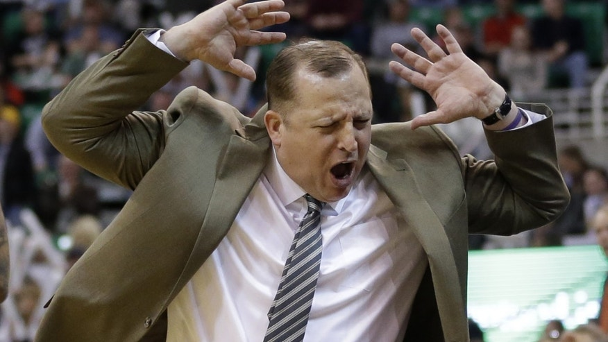 Chicago Bulls coach Tom Thibodeau reacts to a call in the fourth quarter during the Bulls' NBA basketball game against the Utah Jazz on Monday, Nov. 25, 2013, in Salt Lake City. The Jazz won 89-83. (AP Photo/Rick Bowmer)