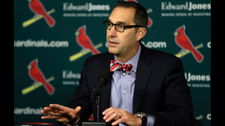Cardinals GM John Mozeliak during a news conference Monday, Nov. 25, 2013, in St. Louis.