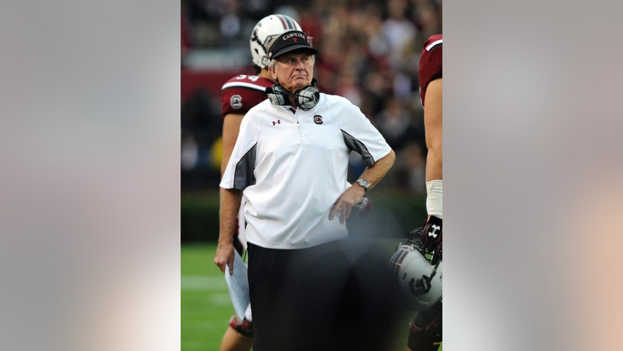 South Carolina head coach Steve Spurrier paces the sidelines during the first half of an NCAA college football game against Coastal Carolina, Saturday, Nov. 23, 2013 in Columbia, S.C. (AP Photo/Stephen Morton)