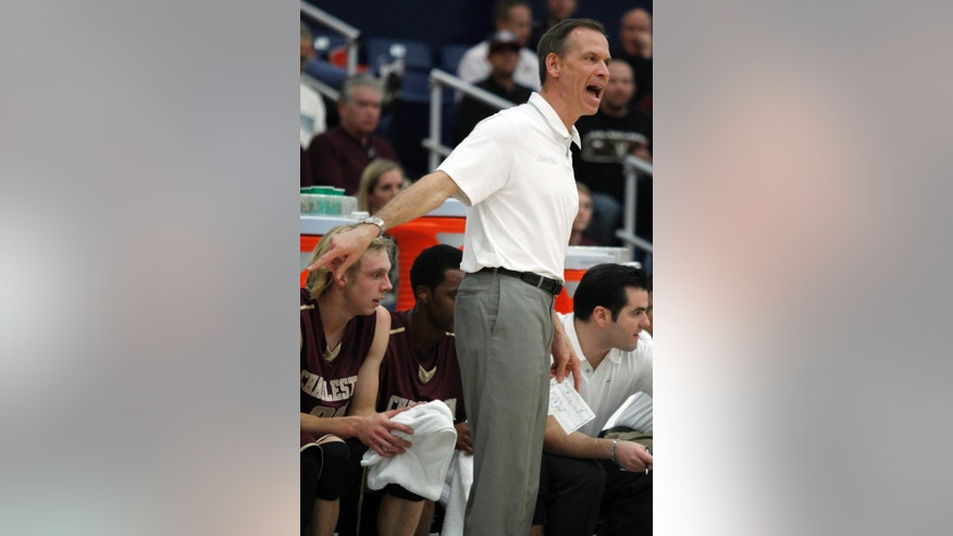 Charleston head coach Doug Wojcik yells at his team to defend against San Diego State in the first half of an NCAA college basketball game at the Wooden Legacy tournament on Thursday, Nov. 28, 2013, in Fullerton, Calif. (AP Photo/Alex Gallardo)