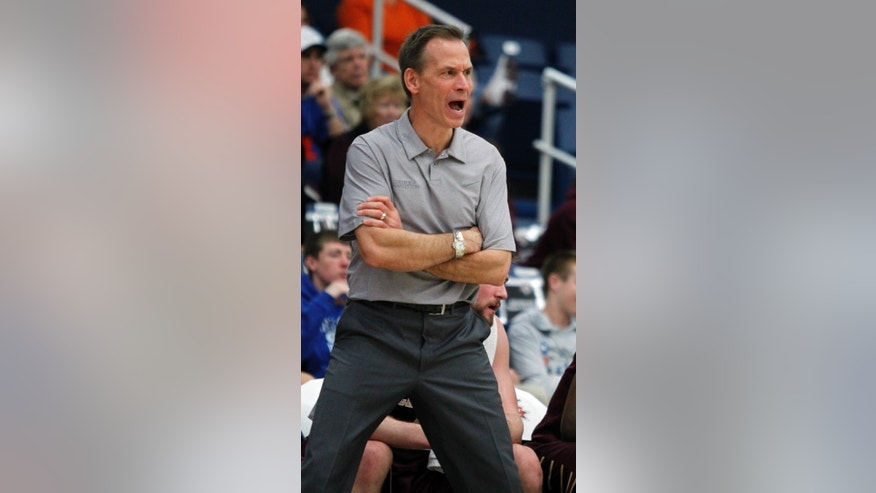 Charleston coach Doug Wojcik yells out to his players in the first half of an NCAA college basketball game against Arizona State at the Wooden Legacy tournament Friday, Nov. 29, 2013, in Fullerton, Calif. (AP Photo/Alex Gallardo)