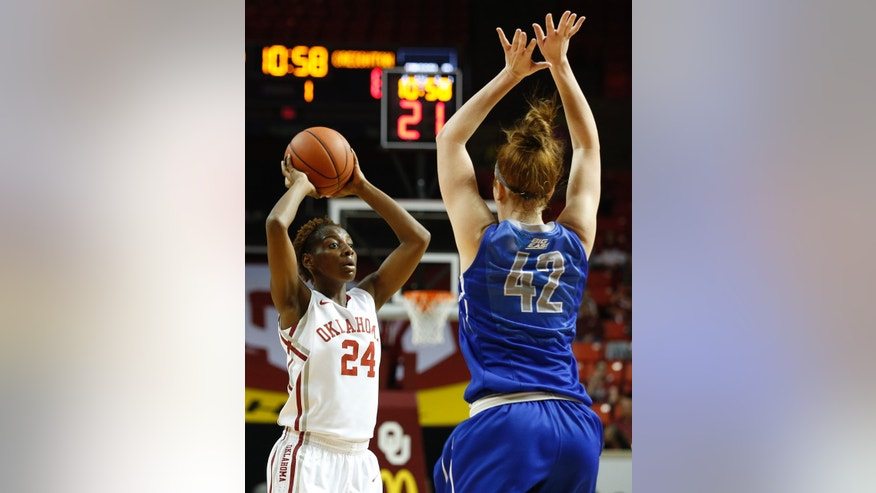 Oklahoma's Sharane Campbell (24) looks to pass while Creighton's Sarah Nelson (42) defends during the first half of an NCAA college basketball game in Norman, Okla., Sunday, Dec. 1, 2013. (AP Photo/Garett Ray Fisbeck)