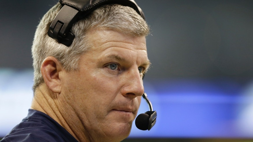 Tennessee Titans head coach Mike Munchak watches during the first half of an NFL football game against the Indianapolis Colts, Sunday, Dec. 1, 2013, in Indianapolis. (AP Photo/Michael Conroy)
