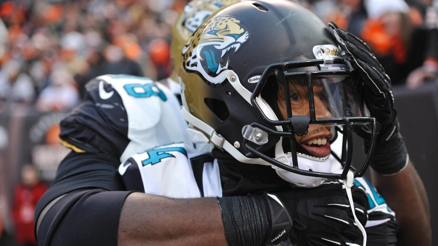 Jacksonville Jaguars wide receiver Cecil Shorts gets a hug from wide receiver Ace Sanders after a 20-yard touchdown catch against the Cleveland Browns in the fourth quarter of an NFL football game on Sunday, Dec. 1, 2013 in Cleveland. The Jaguars won 32-28. (AP Photo/David Richard)