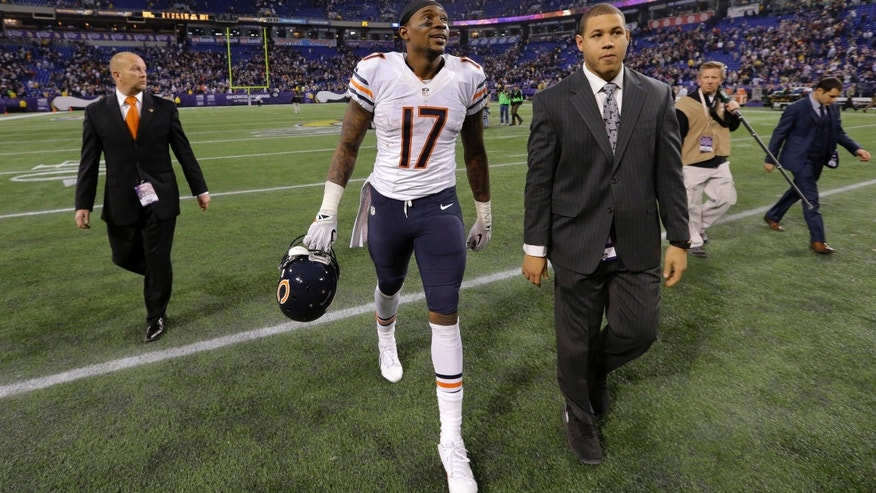 Chicago Bears wide receiver Alshon Jeffery (17) walks off the field after an NFL football game against the Minnesota Vikings, Sunday, Dec. 1, 2013, in Minneapolis. (AP Photo/Ann Heisenfelt)