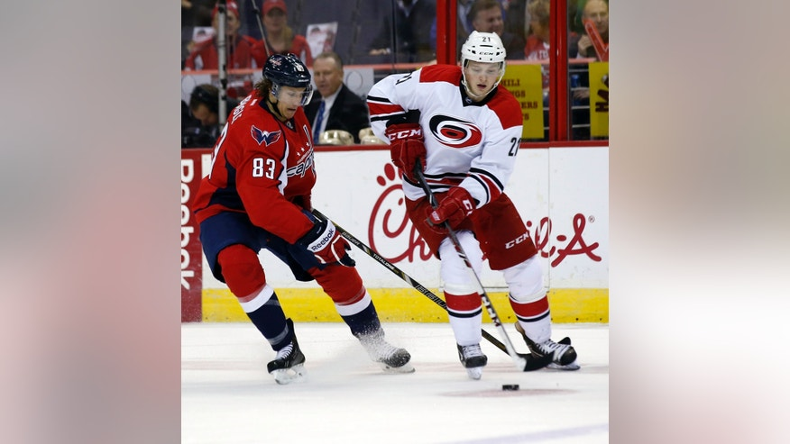 Carolina Hurricanes left wing Drayson Bowman (21) skates with the puck with Washington Capitals center Jay Beagle (83) behind him, in the first period of an NHL hockey game, Tuesday, Dec. 3, 2013, in Washington. (AP Photo/Alex Brandon)