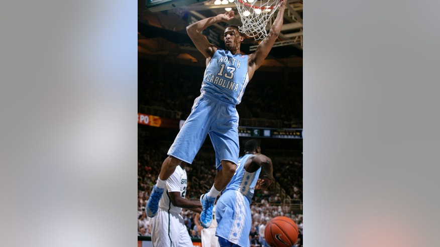 North Carolina's J.P. Tokoto (13) dunks during the first half of an NCAA college basketball game against Michigan State, Wednesday, Dec. 4, 2013, in East Lansing, Mich. (AP Photo/Al Goldis)