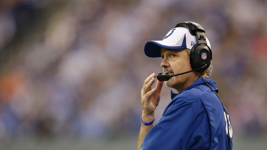 Indianapolis Colts head coach Chuck Pagano watches the second half of an NFL football game against the Tennessee Titans, Sunday, Dec. 1, 2013, in Indianapolis. (AP Photo/AJ Mast)