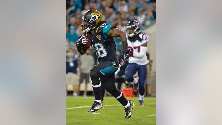 Jacksonville Jaguars wide receiver Ace Sanders (18) runs for yardage past Houston Texans defensive back Josh Victorian (27) during the first half of an NFL football game in Jacksonville, Fla., Thursday, Dec. 5, 2013.(AP Photo/Phelan M. Ebenhack)