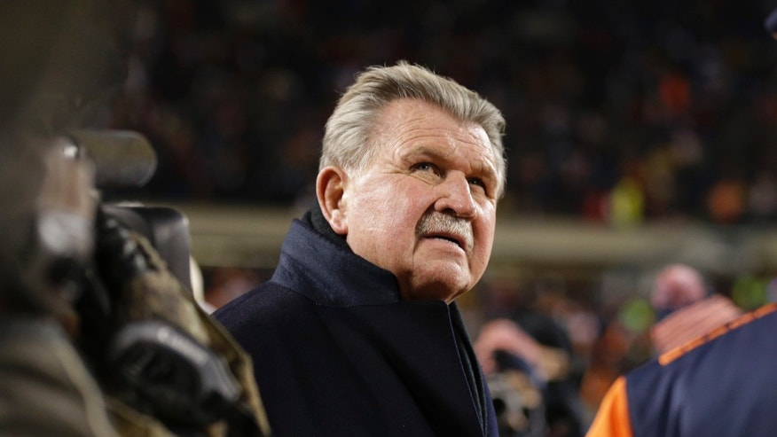 Former Chicago Bears player and football coach Mike Ditka waits for the halftime ceremony where his No. 89 was to be retired by the Bears during an NFL football game between the Bears and the Dallas Cowboys, Monday, Dec. 9, 2013, in Chicago. (AP Photo/Nam Y. Huh)