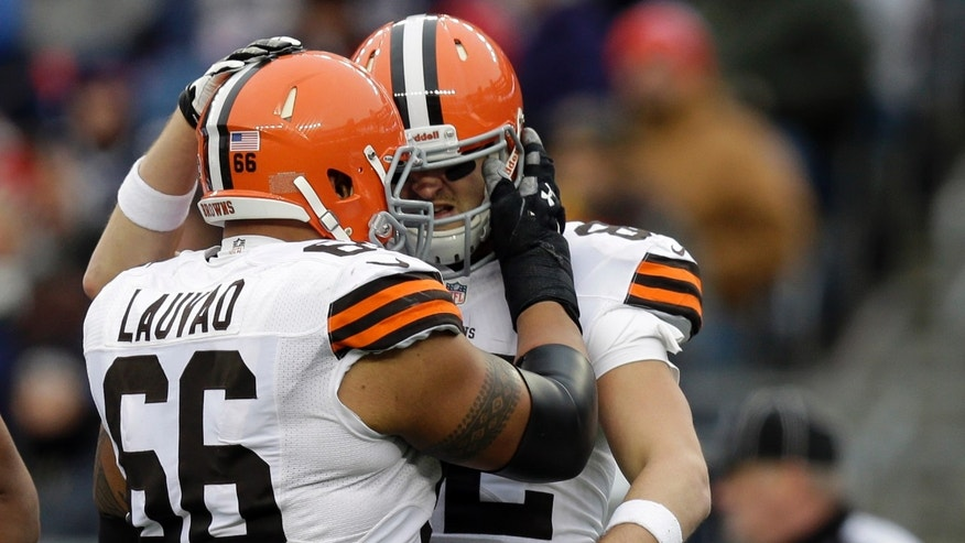 Cleveland Browns tight end Gary Barnidge, right, celebrates with guard Shawn Lauvao (66) after catching a touchdown pass against the New England Patriots in the third quarter of an NFL football game on Sunday, Dec. 8, 2013, in Foxborough, Mass. (AP Photo/Steven Senne)